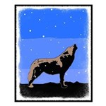 Winter Howling Wolf Small Poster
