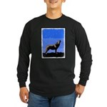 Winter Howling Wolf Long Sleeve Dark T-Shirt