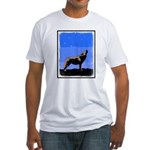 Winter Howling Wolf Fitted T-Shirt