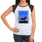 Winter Howling Wolf Junior's Cap Sleeve T-Shirt