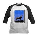 Winter Howling Wolf Kids Baseball Tee