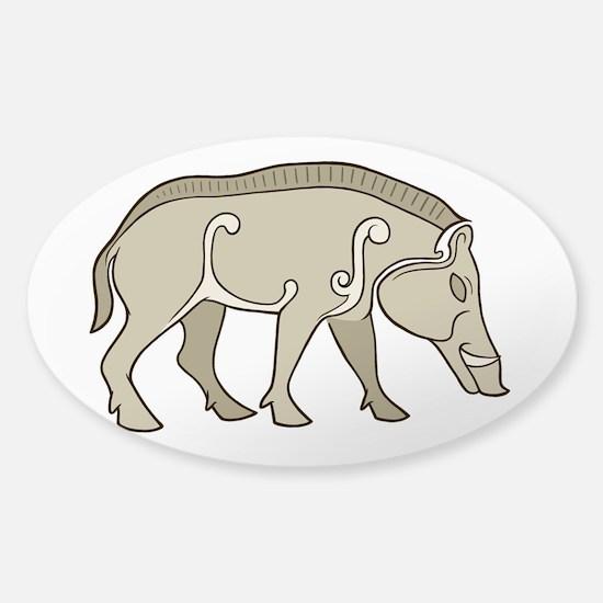 Pictish Boar Sticker (Oval)