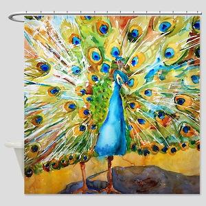 Preening Peacock Bathroom Shower Curtain