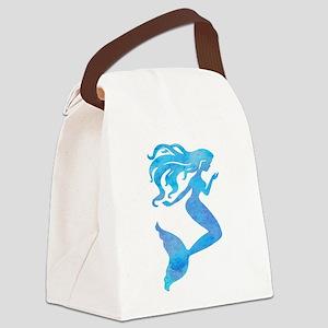 Watercolor Mermaid Canvas Lunch Bag