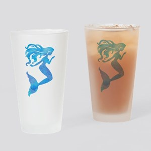 Watercolor Mermaid Drinking Glass