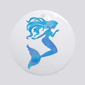 Watercolor Mermaid Round Ornament