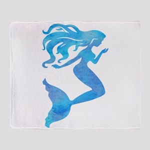 Watercolor Mermaid Throw Blanket