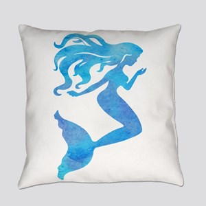 Watercolor Mermaid Everyday Pillow