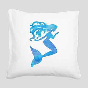 Watercolor Mermaid Square Canvas Pillow