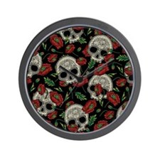 Skulls And Poppies Faux Wall Clock