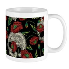 Skulls And Poppies Faux Mugs
