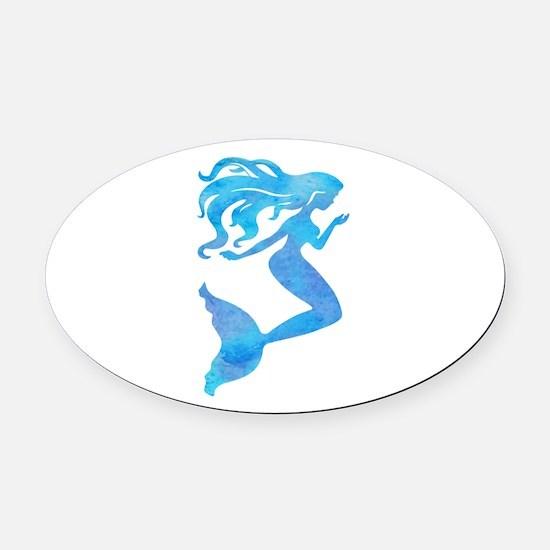 Watercolor Mermaid Oval Car Magnet