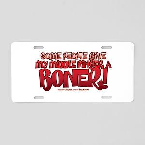 middle finger boner trans Aluminum License Pla