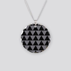 TRIANGLE2 BLACK MARBLE & GRA Necklace Circle Charm