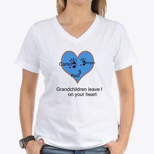Personalized handprints Women's V-Neck T-Shirt