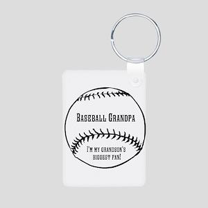 Baseball Grandpa Aluminum Photo Keychain