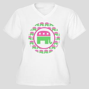 6885b443ce4e68 Preppy Republican Elephant Women s Plus Size T-Shirts - CafePress