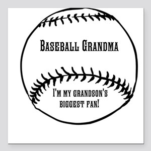 "Baseball Grandma Square Car Magnet 3"" x 3"""