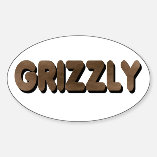GRIZZLY-BROWN FELT LOOKING TE Oval Decal