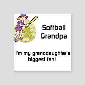 """Personalized Softball Grandpa Square Sticker 3"""" x"""