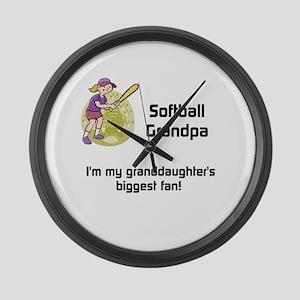 Personalized Softball Grandpa Large Wall Clock