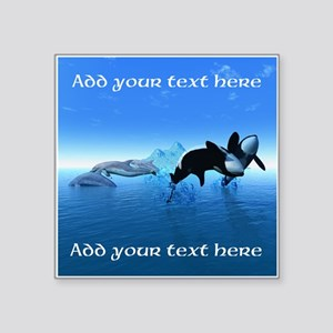"""Dolphins and Orca's Square Sticker 3"""" x 3"""""""