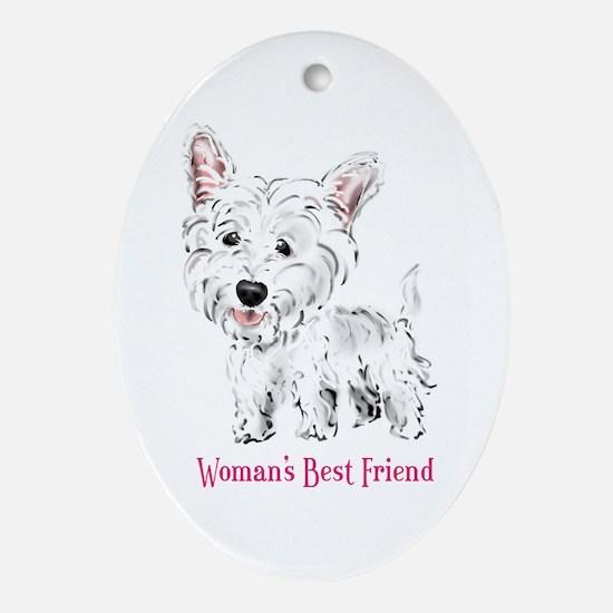 Woman's Best Friend Westie Oval Ornament