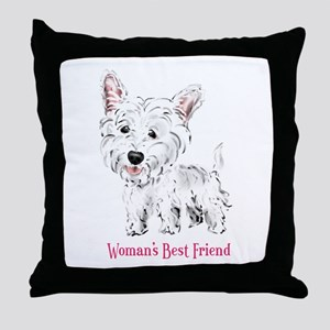 Woman's Best Friend Westie Throw Pillow