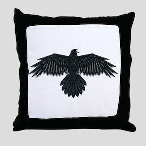 Beadwork Crow or Raven Throw Pillow