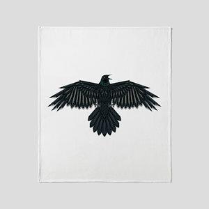 Beadwork Crow or Raven Throw Blanket