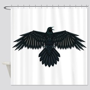 Beadwork Crow or Raven Shower Curtain
