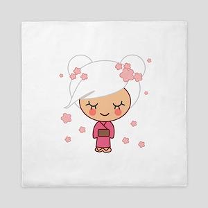 cherry blossom girl copy Queen Duvet