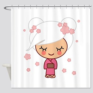 cherry blossom girl copy Shower Curtain