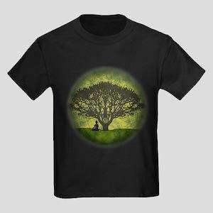 Buddha Under the Bodhi Tree Kids Dark T-Shirt