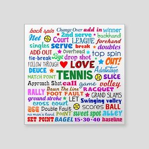 "Tennis Terms Square Sticker 3"" x 3"""