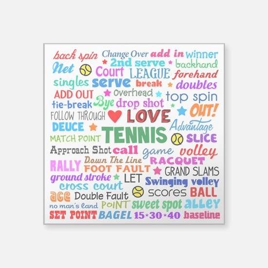 "Tennis Terms Square Sticker 3"" x 3"""