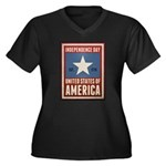 Independence Day Women's Plus Size V-Neck Dark T-S
