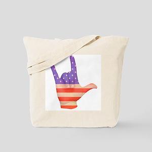 USA Flag ILY sign language hand Tote Bag