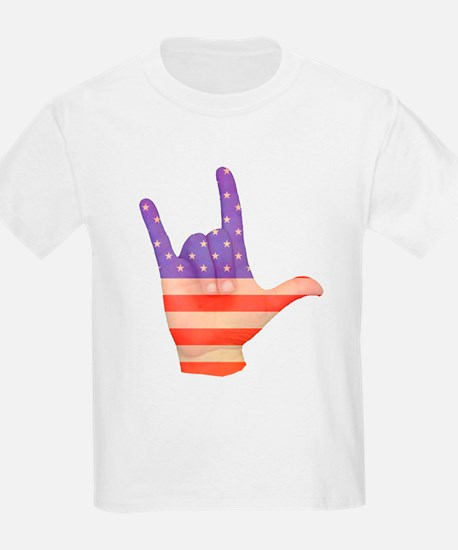 USA Flag ILY sign language hand T-Shirt