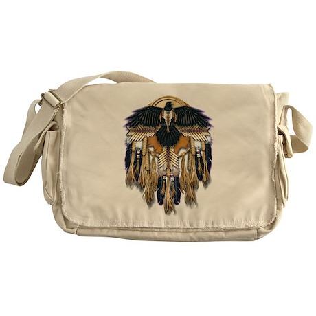 Native Crow Mandala Messenger Bag