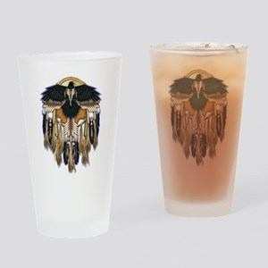 Native Crow Mandala Drinking Glass
