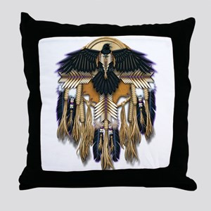 Native Crow Mandala Throw Pillow