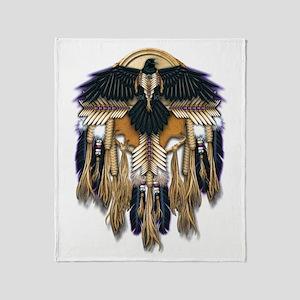 Native Crow Mandala Throw Blanket