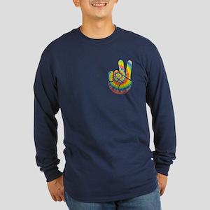 Tie-Dye Peace Hand Long Sleeve Dark T-Shirt