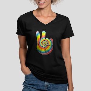 Tie-Dye Peace Hand Women's V-Neck Dark T-Shirt