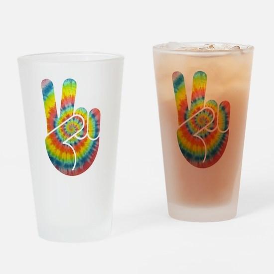 Tie-Dye Peace Hand Drinking Glass
