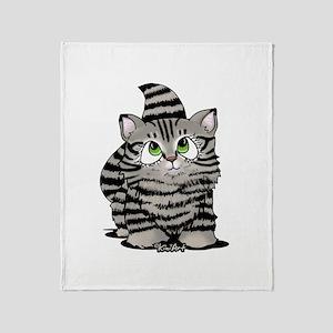 Tabby Cutie Face Kitten Throw Blanket