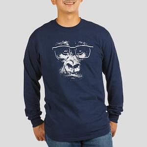Glasses Gorilla Long Sleeve Dark T-Shirt