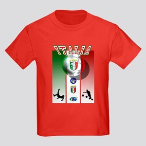 Italia Italian Football Kids Dark T-Shirt