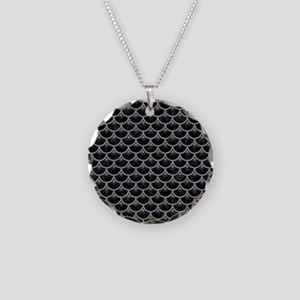 SCALES3 BLACK MARBLE & GRAY Necklace Circle Charm